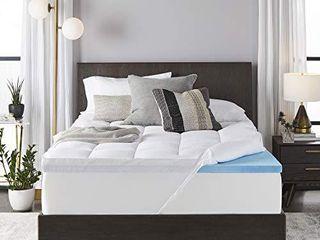 Sleep Innovations 4 inch Dual layer Gel Memory Foam Mattress Topper Enhanced Support  Queen