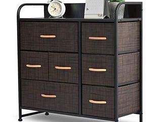 Fabric Storage Organizer 7 Drawer Dresser for Closet Dresser with Storage for Bedroom  Hallway  Entryway  Wide Fabric Dresser Tower  Storage Dresser with Sturdy Steel Frame Wood Top Wood Handles