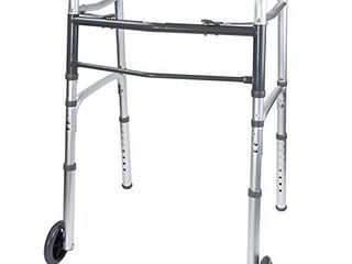 Vaunn Medical Two Button Folding Walker with Wheels  Adjustable Height and Detachable legs