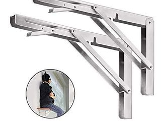 Folding Shelf Brackets 20 Inch  2pcs Heavy Duty Stainless Steel Collapsible Shelf Bracket Wall Mounted DIY Triangle Brackets for Table Work Bench  Space Saving Max load 500 lb