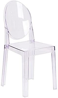 Flash Furniture Ghost Chair with Oval Back in Transparent Crystal