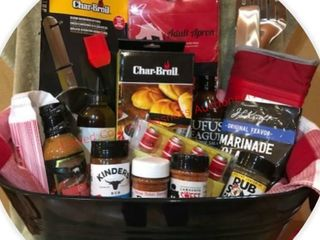 BBQ Basket Brimming With Tools   Condiments
