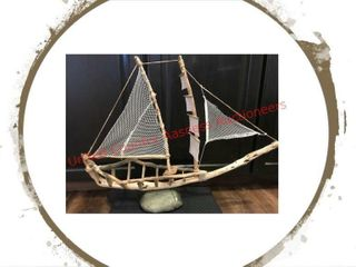 Hand Crafted Driftwood Sailboat