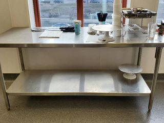 6ft Stainless Table With Contents