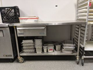 Stainless Steel Prep Table With Drawer On Casters
