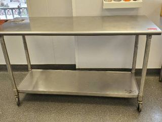 5ft Rolling Stainless Prep Table
