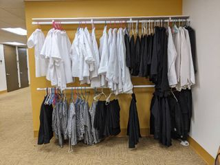 Assorted Sized Chef Coats Pants And Shirts