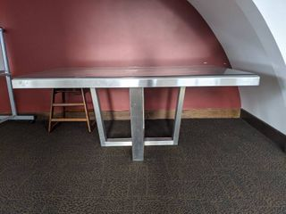 Stainless Steel Table Glass Top Table  Very Heavy