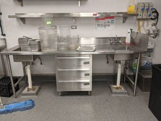 Stainless Steel Work Station With Attached Sink  Buyer Responsible For Removal