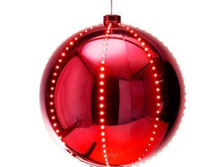 Alpine Corporation Hanging Christmas Ball Ornament with lED lights  Red