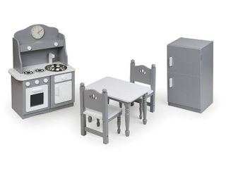 Badger Basket Kitchen Furniture Set for 18 inch Dolls   Gray White   Fits American Girl  My life As  amp  Most 18in Dolls