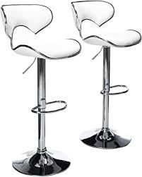Round Hill Furniture White PU Barstools Set of 2