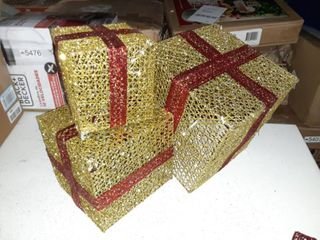 Holiday Gift Box Tower in Red Gold