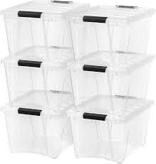 6 Stackable Clear Plastic Storage Tubs
