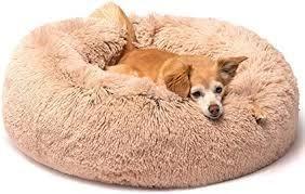 Tan Fuzzy Pet Bed