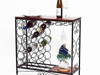 Benoss Wood  amp  Metal Wine Rack