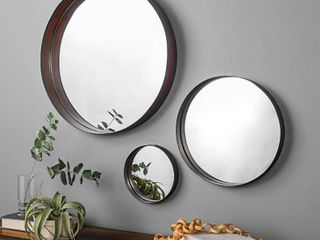 Walker Edison Banded Round Copper Wall Mirrors   3 Pack