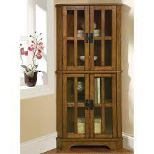 Coaster Company Oak 4 Shelf Corner Curio Cabinet