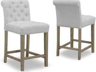 Set of 2 Aleen Beige Fabric Counter Stool