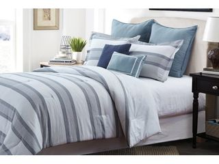 Cotton   King  Style Quarters Hudson 7pc Comforter Set   Gray and White Stripes with Accents of Blue   100  Cotton   Machine Washable   King Retail 159 97