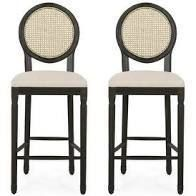 Govan French Country Wooden Barstools with Upholstered Seating  Set of 2  by Christopher Knight Home  Retail 312 99