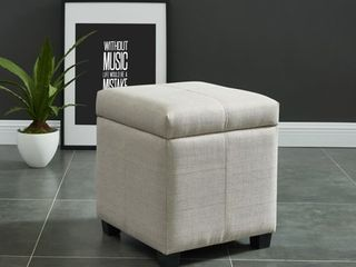 Juno Hinged lid Storage Ottoman  Beige   Square