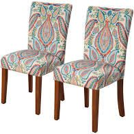 HomePop Coral and Torquoise Paisley Parson Dining Chairs