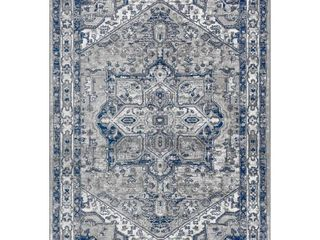 JONATHAN Y Modern Persian Vintage Medallion light Grey Navy Distressed Area Rug   4 X 6