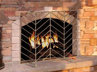 gold  gold  Modern Iron Single Panel Fireplace Screen Decorative Mesh Cover Baby Safe Proof Fire Place  Retail 94 99