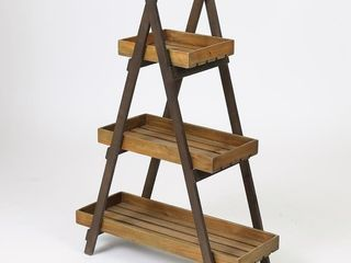 Brown Wood 3 Tier ladder Plant Stand Bro