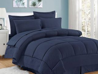 Navy   Queen  Soft Dobby 8 piece Striped Down Alternative Bed in a Bag Set w  Sheets  Retail 75 98