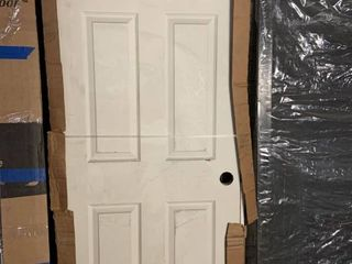 Jeldwen Windows and Doors   Right Hanging 31 5 x 81 Pre Hung Interior Door   No Finish   Satin Nickel Hinges  Slight Damage to Door Face See Photos