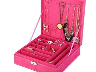 KlOUD City Two layer lint Jewelry Box Organizer Display Storage case with lock  Rose