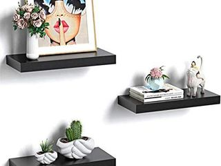 Amada Floating Shelves Invisible Wall Mounted 3 Sets  Modern Faux Wood Storage Shelves with Matte Finish  Perfect for Bedroom  Bathroom  living Room and Kitchen Decoration  Black