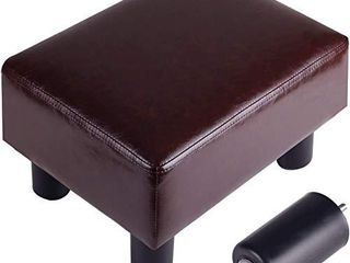Footrest Small Ottoman Stool PU Faux leather Modern Rectangle Seat Chair Footstool  Brown