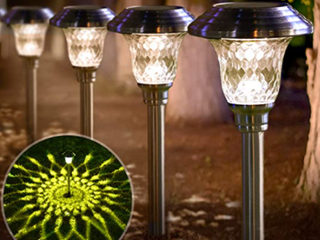 Beau Jardin White lED   Battery pre installed  Turn on at Dusk  Green Engry  8 Pack  For Outdoors use