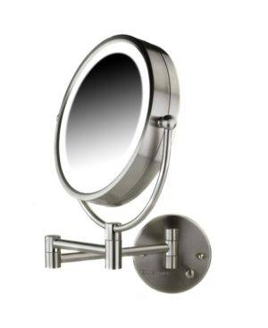 Ovente Wall Mounted Vanity Makeup Mirror 8 5 Inch with 7X Magnification and Natural lED lights  Double Sided with Hardwired Electrical Connection  Distortion Free  Nickel Brushed  MPWD3185BR1X7X