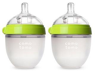 Comotomo Silicone Bottle 5 Oz  2 Pack  Green