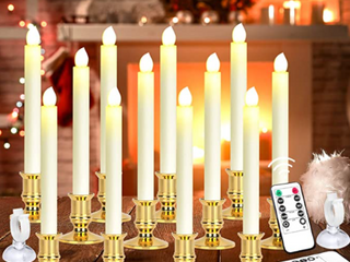 MAOYUE 12 Packs led Candlelight with Holder and Suction Cup the lED light can present a real Candle Effect Remote Controller 2 pieces  Warm light Remote Distance 16 4 ft