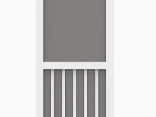 32 x 80 White PVC Exterior Screen Door  Screen Damage See Photos