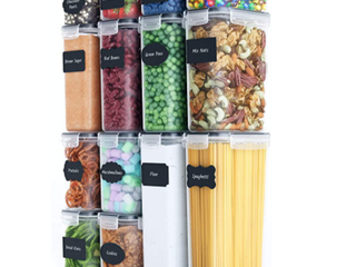Chefs Path Food Storage Container Set  14 Pieces  Free Spoon Set Chalkboard labels and Marker  14 Containers  1 Chalkboard  16 labels  Small Measuring Spoon Set