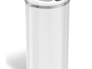 13 Gallon White Steel Round Sensor Trash Can