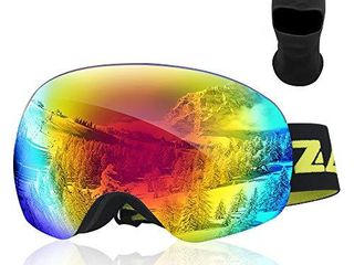 Zacro Ski Goggles  large Spherical Framless Snowboard Goggles for Men and Women  OTG Double lens Goggles for Skiing  Snowboarding  Snowmobile  100  UV400 Protection and Anti fogging  Green
