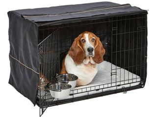 MidWest Dog Crate Starter Kit 36  2 Door iCrate  Pet Bed  Crate Cover   2 Pet Bowls Ideal for Medium to large Dog Breeds