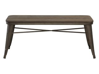 WHI Industrial Style Backless Dining Bench  Gunmetal