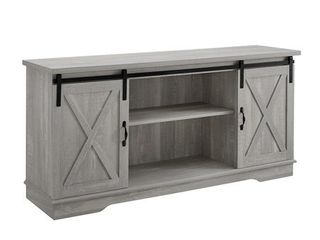 58 inch Modern Farmhouse Wood TV Stand with Sliding Barn Doors   Stone Grey