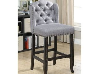 light Grey  Furniture of America Tays linen Bar Chairs  Set of 2  Retail 407 07