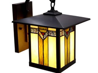 River of Goods Southwest 1 light Bronzed Outdoor Stained Glass Wall Scone