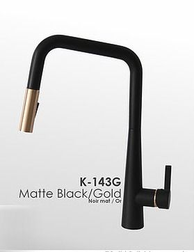 Gold  Modern Single Handle Pull Down Sprayer Kitchen Faucet in Matte Black Gold Finish  Retail 239 99