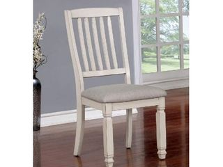 Furniture of America Kaliyah Antique White Set of 2 Dining Chairs  Vintage White and light Gray